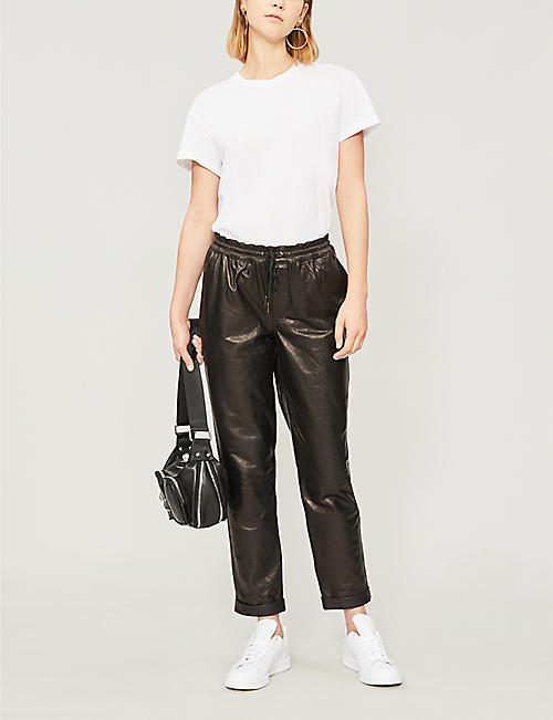 FRAME Drawstring-waist cropped high-rise leather trousers