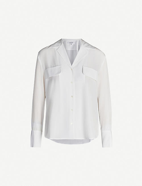 FRAME Revere-collar silk blouse