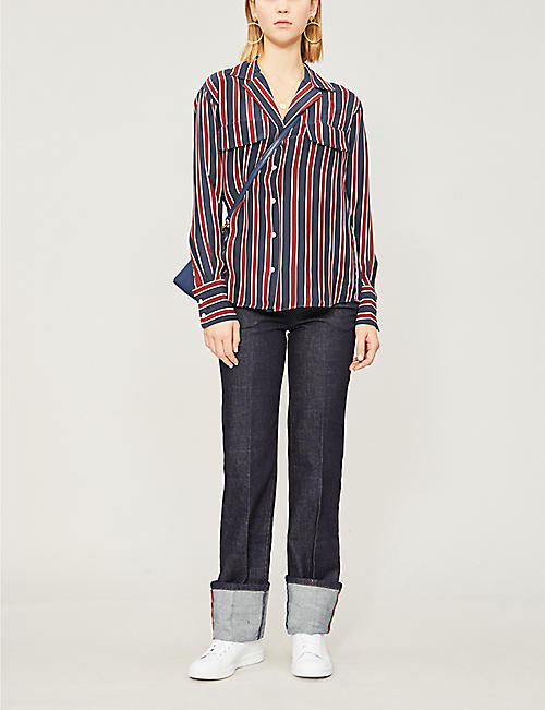 FRAME Striped crepe shirt