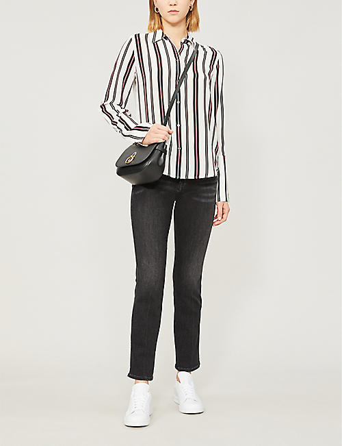 FRAME Striped silk-crepe shirt