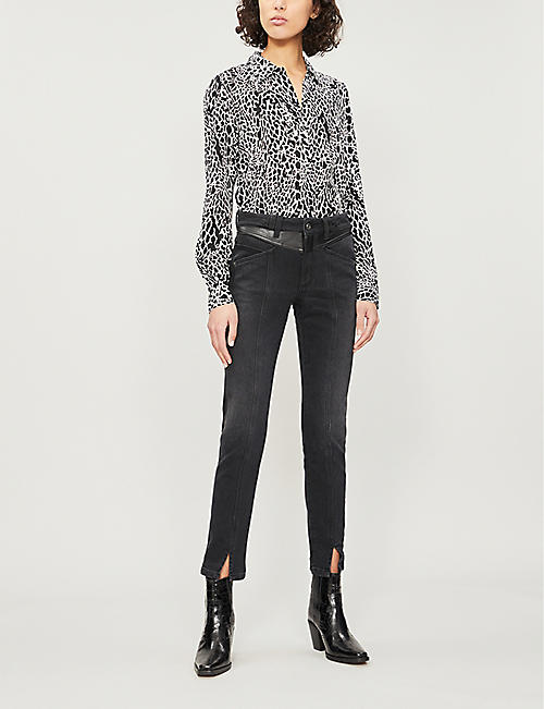 FRAME Animal-print long-sleeved silk-crepe blouse