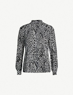 66ec027fe2448 FRAME · Animal-print long-sleeved silk-crepe blouse