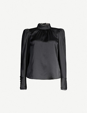 FRAME High-neck lace-trimmed silk-satin blouse