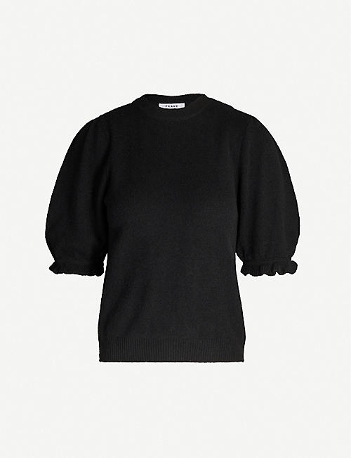 FRAME Puffed-sleeve cropped recycled cashmere jumper