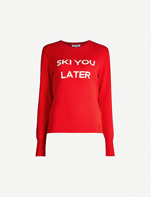 FRAME Ski You Later slogan-print wool jumper
