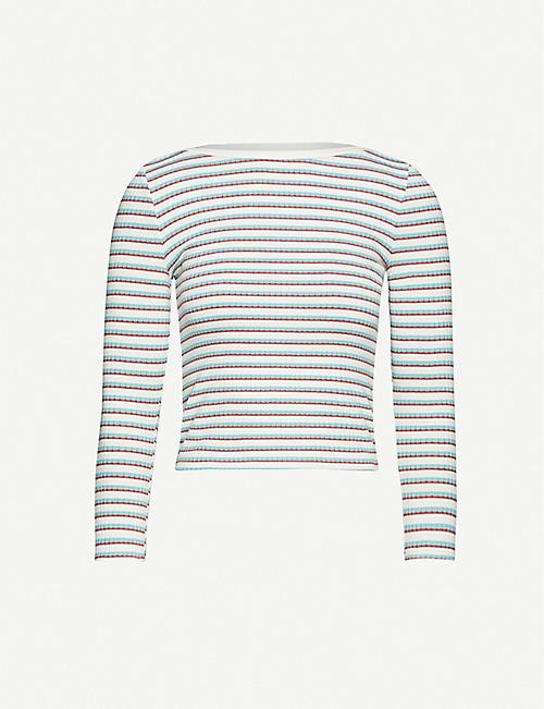 FRAME Striped stretch-knit jumper