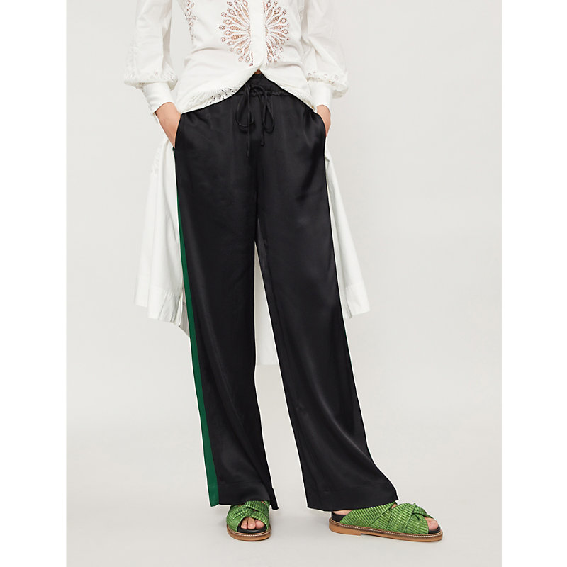 Track Wide-Leg Satin Jogging Bottoms in Black