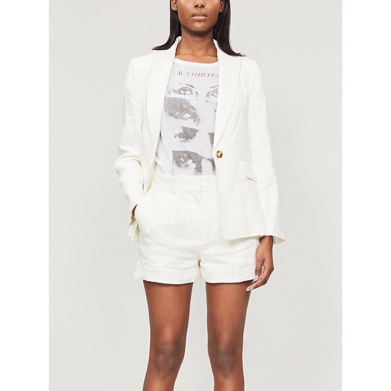 Frame Shorts HIGH-RISE LINEN-BLEND SHORTS