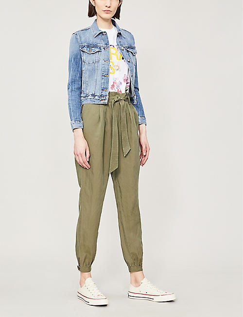 FRAME Waist-tie tapered linen-blend trousers