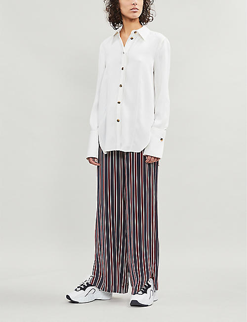 FRAME Striped wide-leg satin trousers