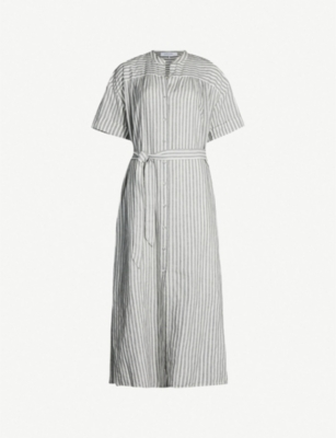 FRAME Striped cotton-linen dress