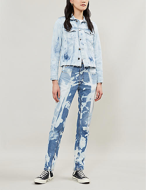 FRAME Raw-hem stretch-denim jacket