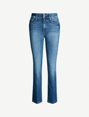 FRAME Le Sylvie Slender high-rise faded straight-leg jeans