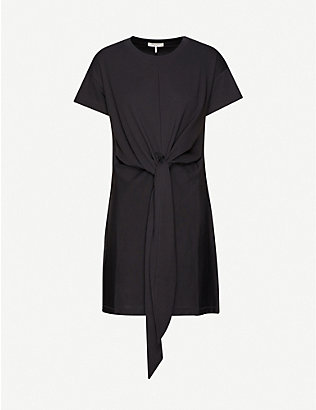 RAG & BONE: Aimie tie-front cotton-jersey mini dress