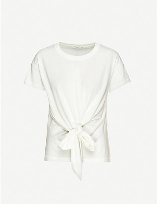 RAG & BONE: Knotted cotton-blend jersey T-shirt