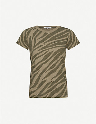 RAG & BONE: Zebra-print cotton-jersey T-shirt