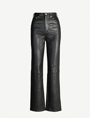 RAG & BONE Jane slim-fit straight leather trousers