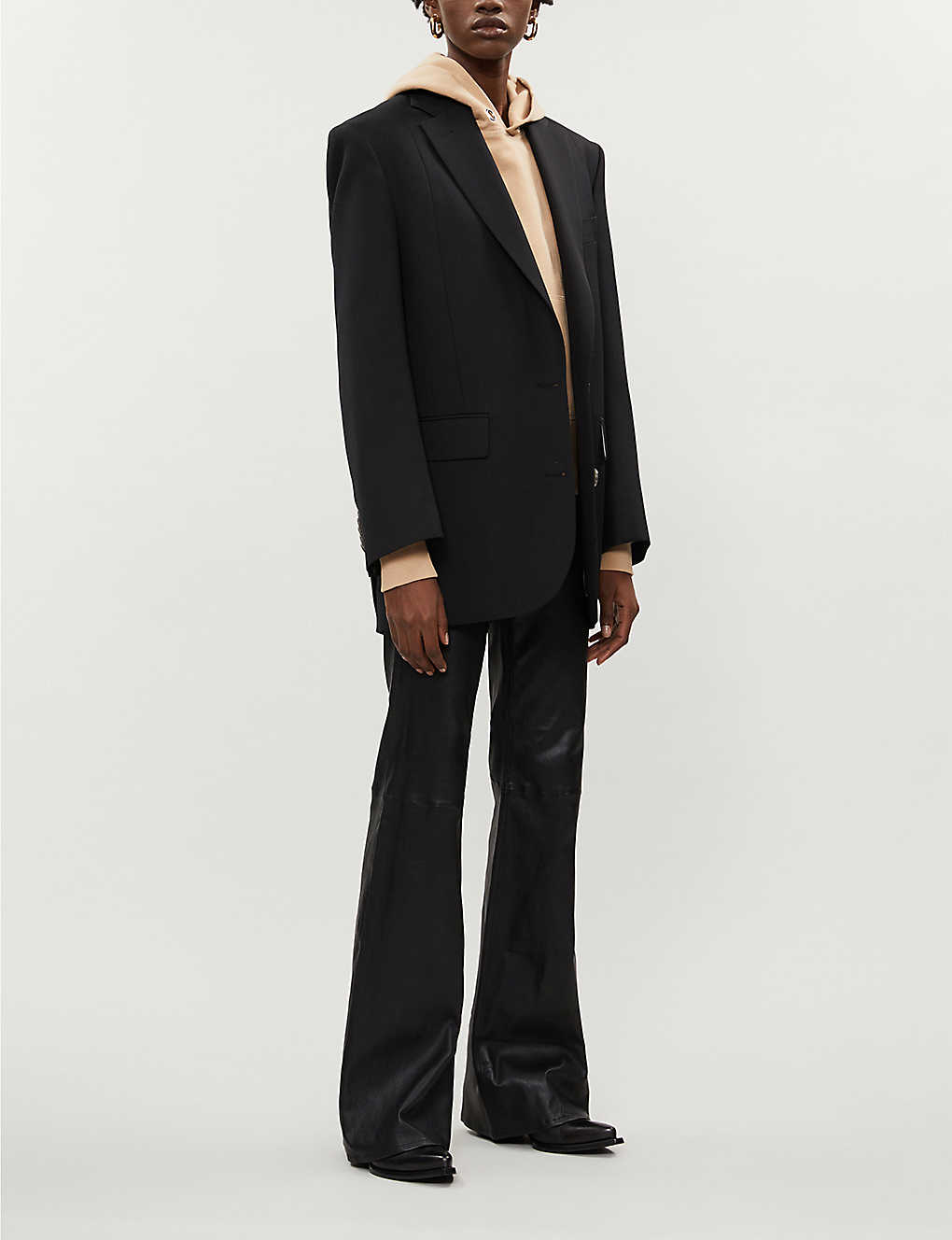 Jane slim-fit flared leather trousers - Blk
