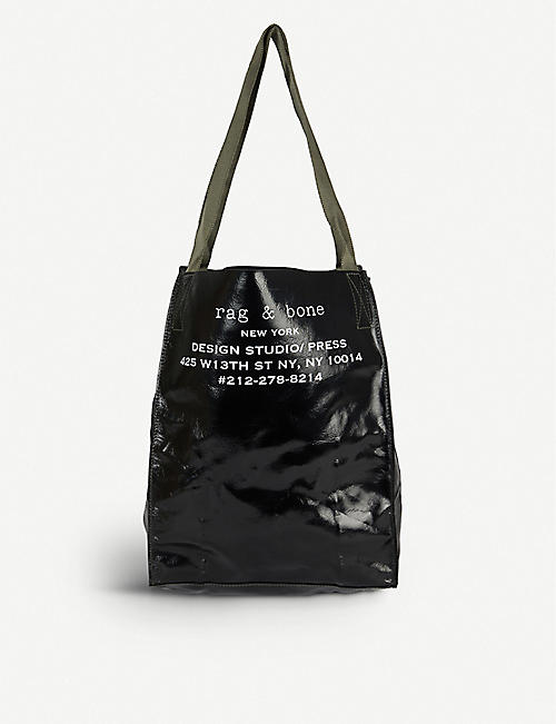 RAG & BONE Branded packable patent-leather tote