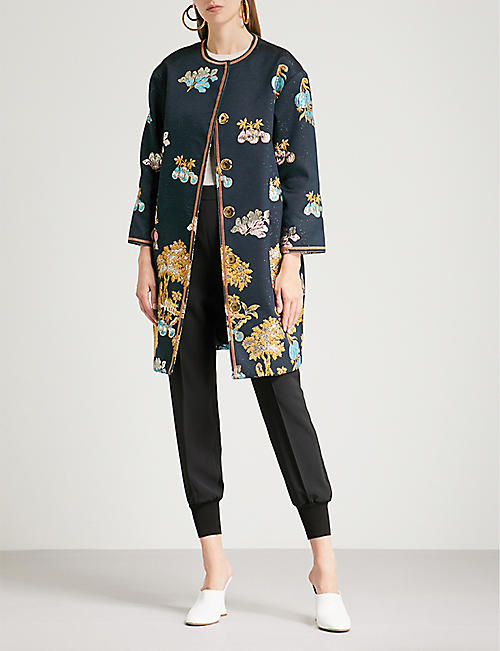 Peter Pilotto Woman Asymmetric Embroidered Silk-crepe Dress Navy Size 16 Peter Pilotto KTGrTT7t32