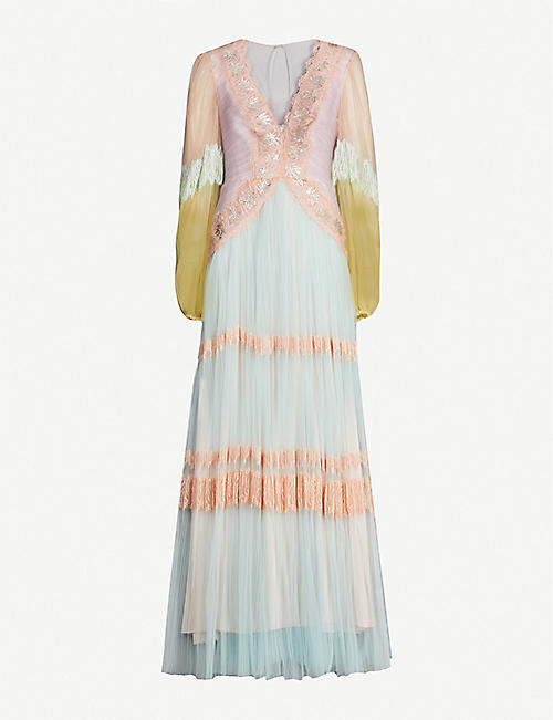 PETER PILOTTO Colour-blocked tulle maxi dress