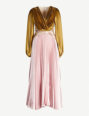 PETER PILOTTO Contrast-panel pleated metallic satin-crepe gown