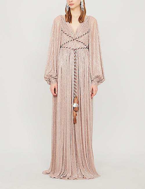 PETER PILOTTO Rope belt metallic jersey gown