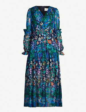 PETER PILOTTO Floral-print wrapover silk midi dress