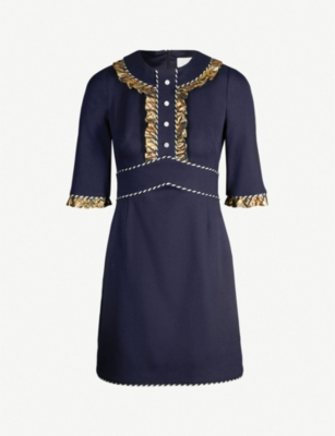 PETER PILOTTO Metallic ruffle-trimmed woven mini dress