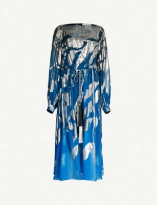 PETER PILOTTO Leaf-print silk-blend midi dress