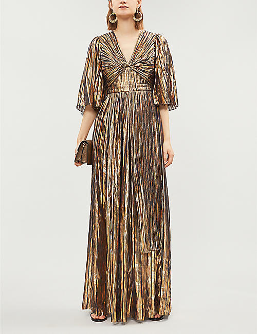 PETER PILOTTO Ruched metallic striped silk-blend gown