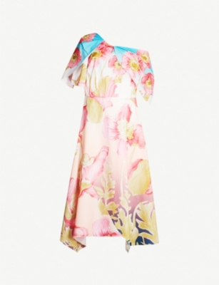 PETER PILOTTO Floral print asymmetric V-neck cotton dress