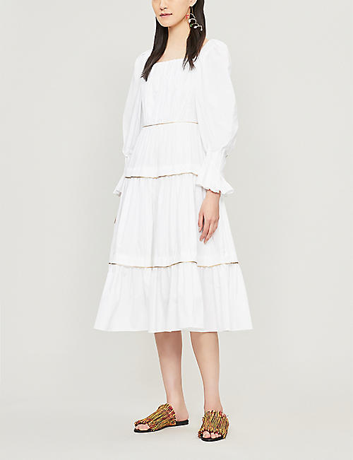 PETER PILOTTO Square neck cotton-poplin midi dress