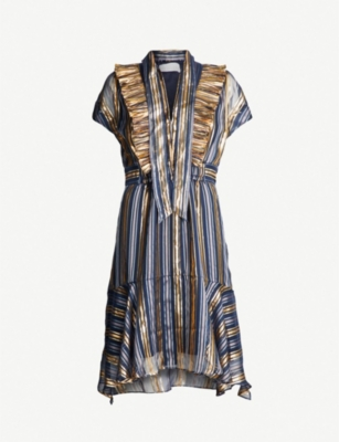 PETER PILOTTO Metallic-striped silk-blend mini dress