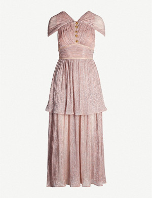 PETER PILOTTO Metallic tiered plissé crepe midi dress