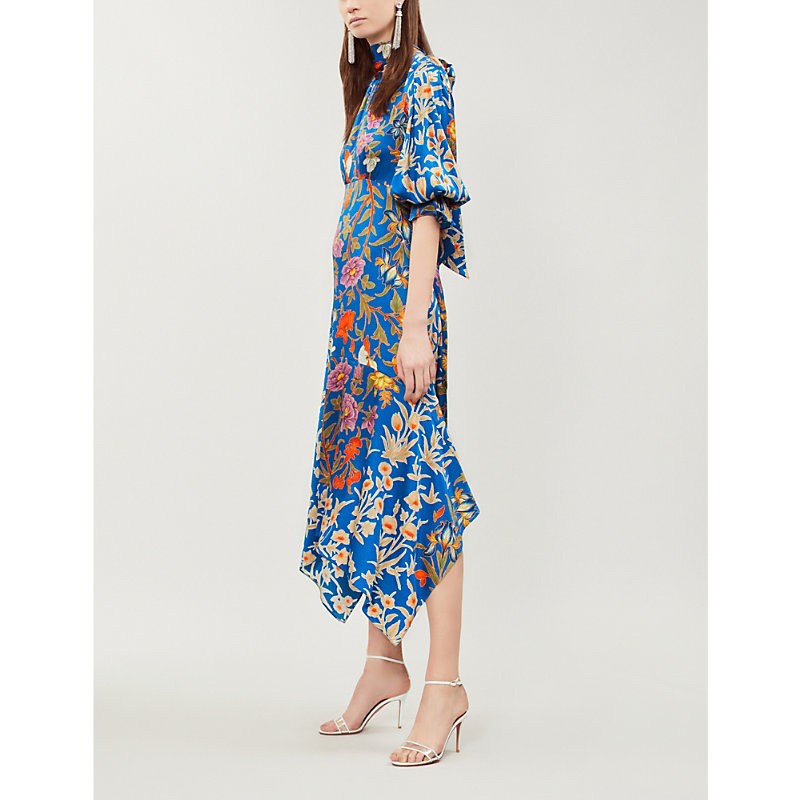 Peter Pilotto ASYMMETRIC FLORAL-PRINT HAMMERED STRETCH-SILK MIDI DRESS