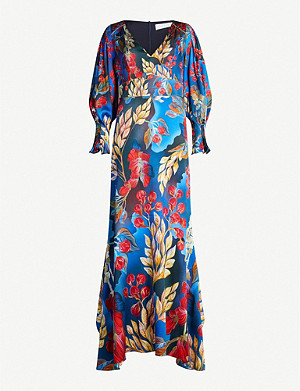 PETER PILOTTO Floral-print V-neck stretch-silk dress
