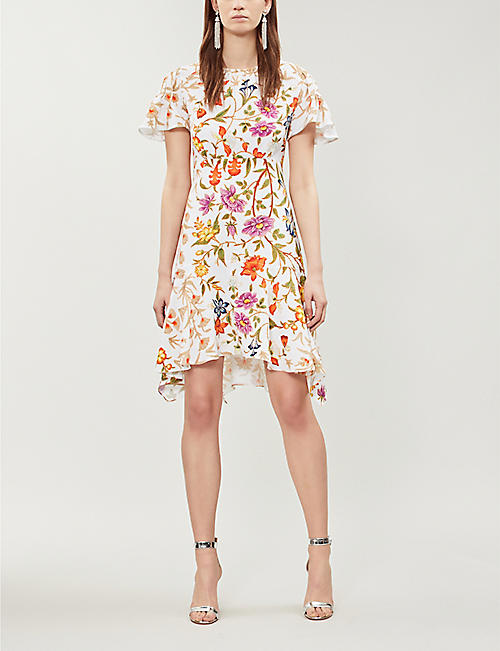 PETER PILOTTO Ruffled floral-print crepe mini dress