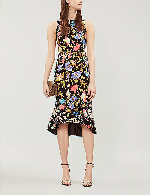 PETER PILOTTO Ruffled-hem floral-print cady dress