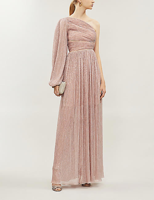 PETER PILOTTO One shoulder ruched metallic-crepe gown