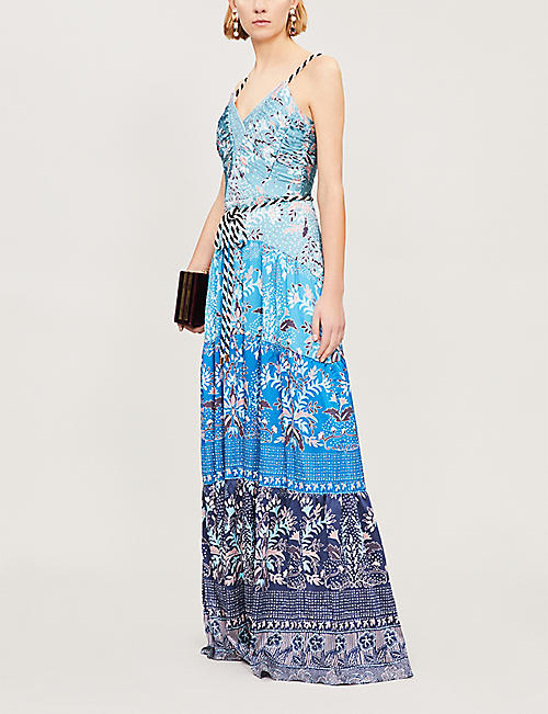 PETER PILOTTO Striped-trim printed hammered stretch-silk gown