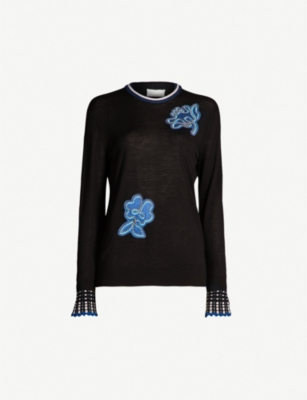PETER PILOTTO Flower appliqué wool jumper