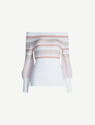 PETER PILOTTO Off-the-shoulder striped cotton-blend jumper