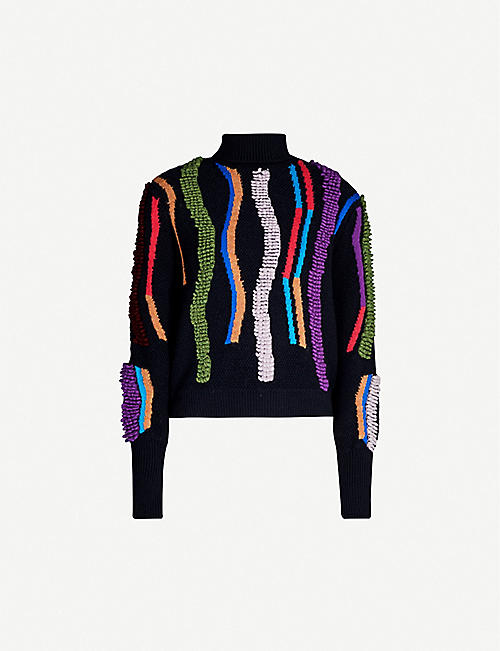 PETER PILOTTO Contrasting textured-trim oversized wool-blend jumper
