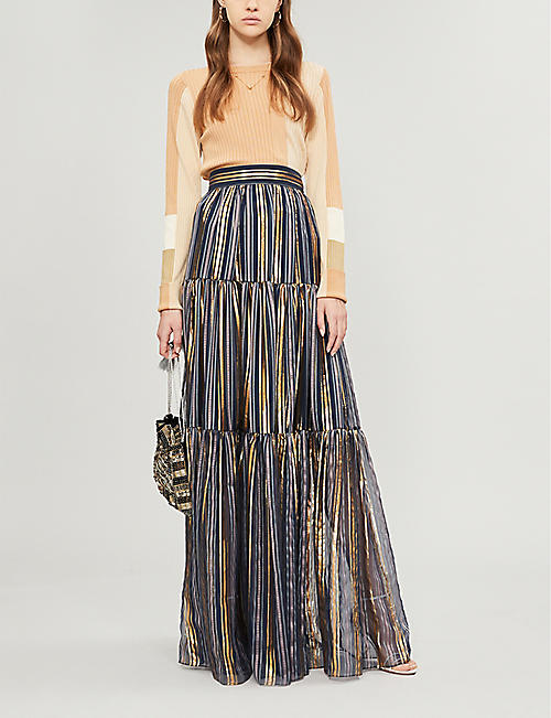 PETER PILOTTO Metallic-striped high-rise silk-blend maxi skirt