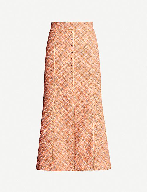PETER PILOTTO Jewel-embellished cotton and linen-blend tweed midi skirt