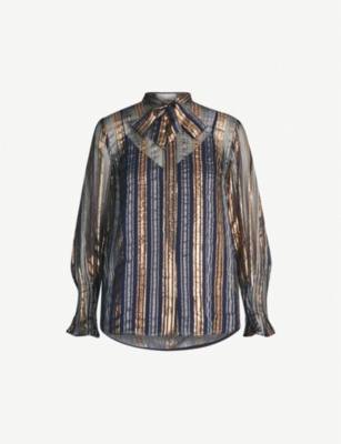 PETER PILOTTO Metallic-striped pussbow crepe and lurex blouse