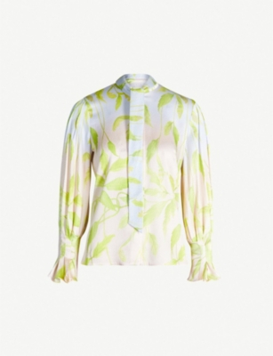 PETER PILOTTO Floral-print stretch-silk blouse