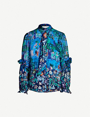 PETER PILOTTO Floral-print high-neck silk shirt