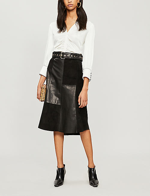 PETER PILOTTO Ruched satin-crepe blouse
